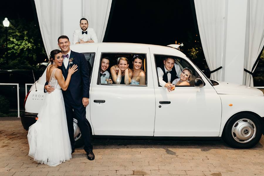 London Taxi and Bridal party