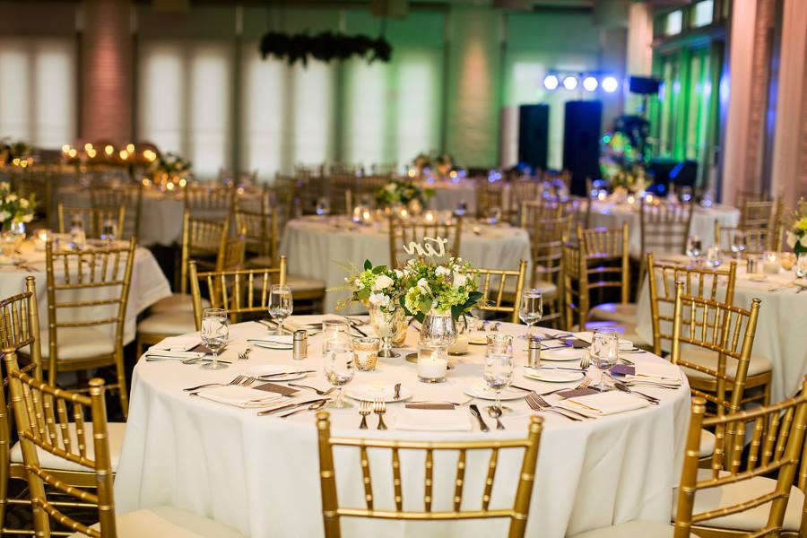 Green, White and Gold Decorated Wedding reception in Weaver Room at Proximity Hotel