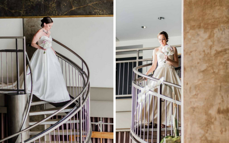 Proximity Hotel Wedding - Sarah and Catherine on staircase