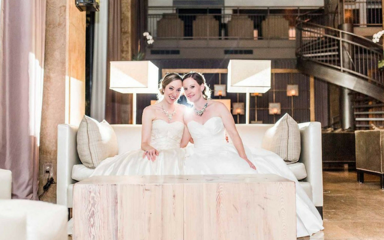 Proximity Hotel Wedding - Sarah and Catherine brides together
