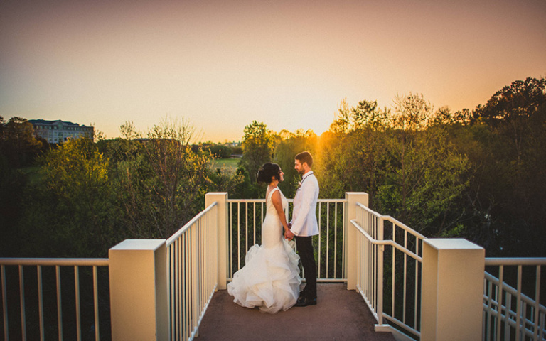 Christina and Danny Dream Wedding at Proximity Hotel, Bride and Groom on Weaver Terrace