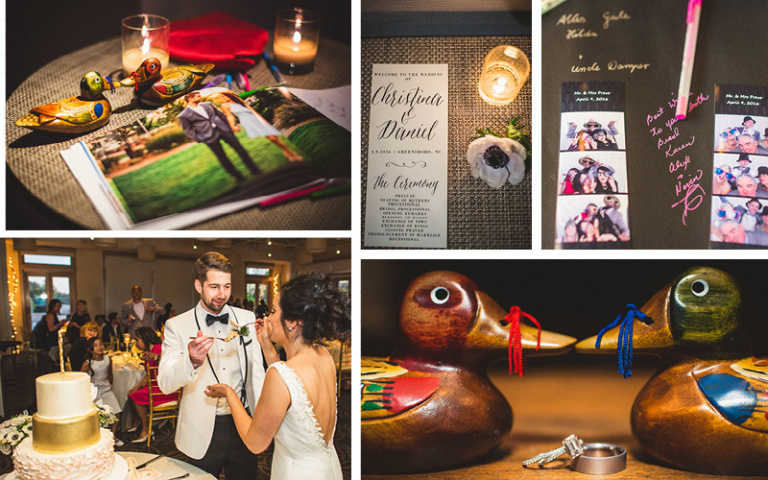 Christina and Danny Dream Wedding at Proximity Hotel, Wedding Favors, Guest Book and Cake
