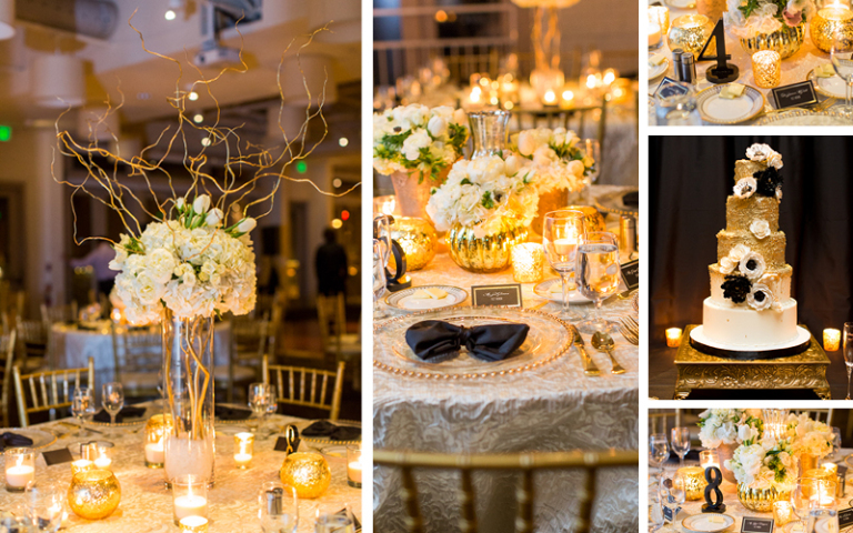 Gatsby Winter Wedding at Proximity Hotel, Gatsby themed tablescapes