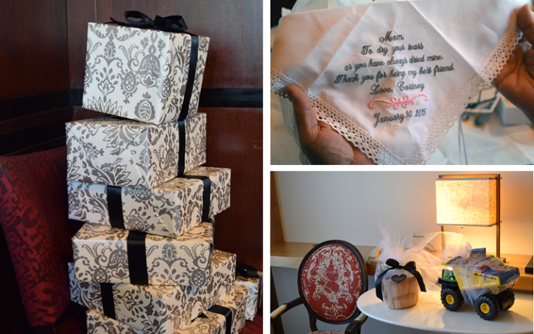 Gatsby Winter Wedding at Proximity Hotel, Pre-wedding gifts