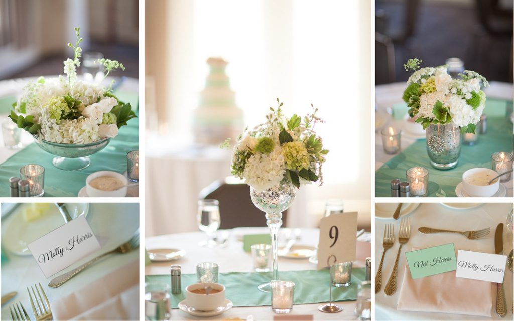 Proximity Hotel Wedding, Molly and Neil, teal centerpieces
