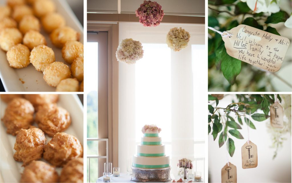 Proximity Hotel Wedding, Molly and Neil, catering and wedding cake with wishing tree