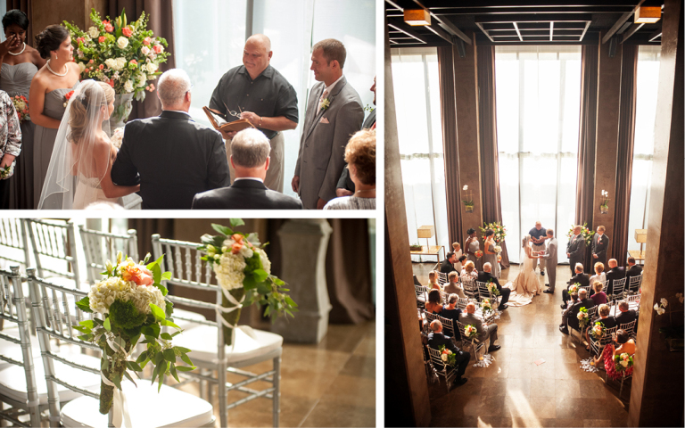 Proximity Hotel Wedding, Whitney and Dustin, ceremony in social lobby