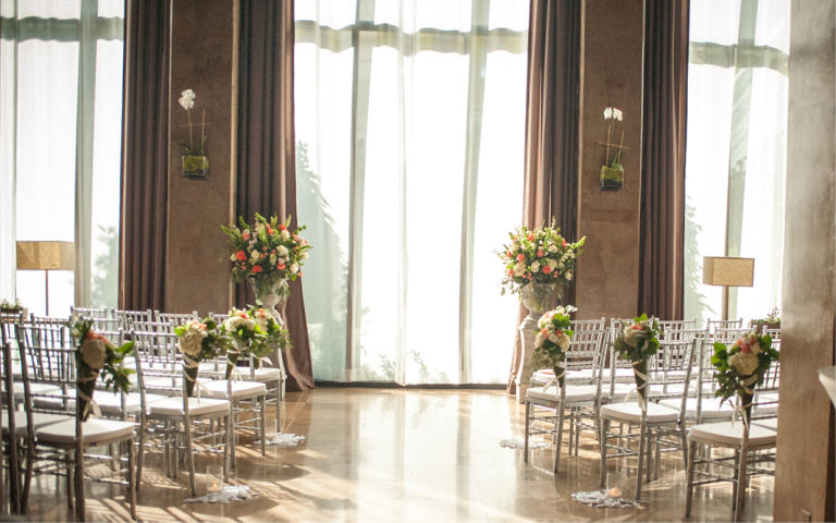 Proximity Hotel Wedding, Whitney and Dustin, social lobby decorated in silver