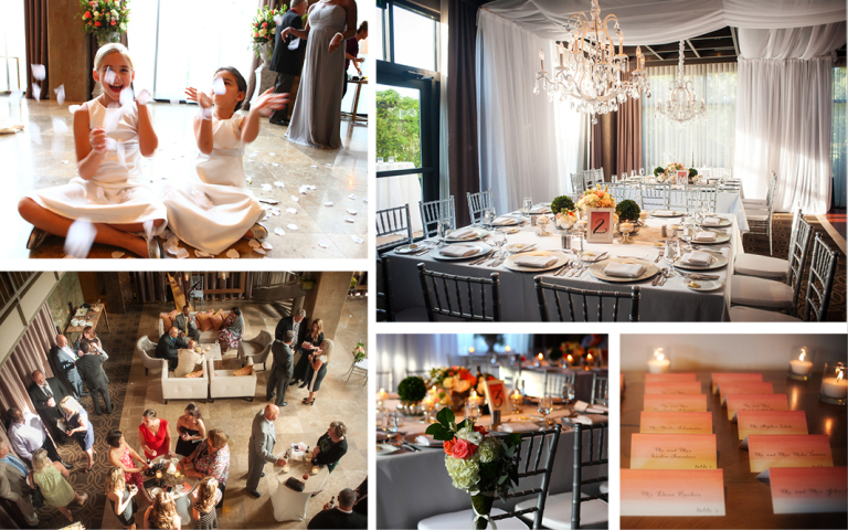 Proximity Hotel Wedding, Whitney and Dustin, flower girls and reception decor