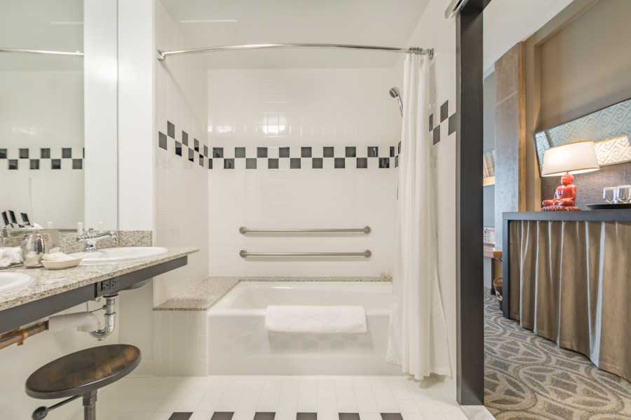Shower Tub with Grab Bars