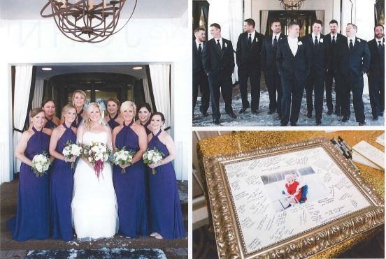 Left: Bride and Bridesmaids, Upper Right, Groom and Groomsmen, Lower right: guest comment picture frame