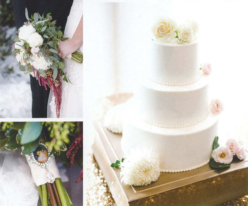 Upper Left: White Bridal Bouquet, Lower Left: Bridal bouet with picture, Right: White wedding cake