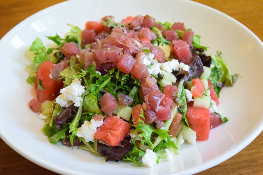 Sashimi Tuna Salad, watermelon, cucumber, mint, Goat cheese, mint vinaigrette